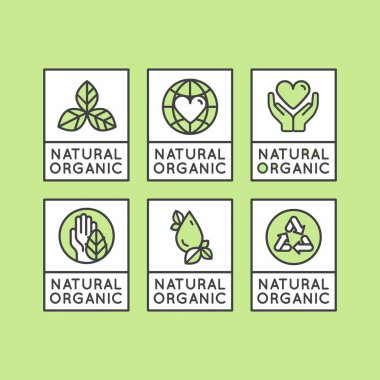 Bio Ingredient Label Badge with Leaf, Earth, Green Concept