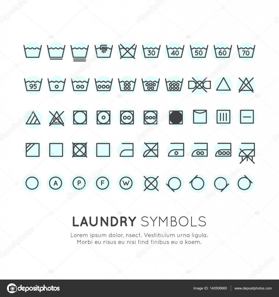 Super symboles sur les étiquettes des vêtements à laver — Image  BF92