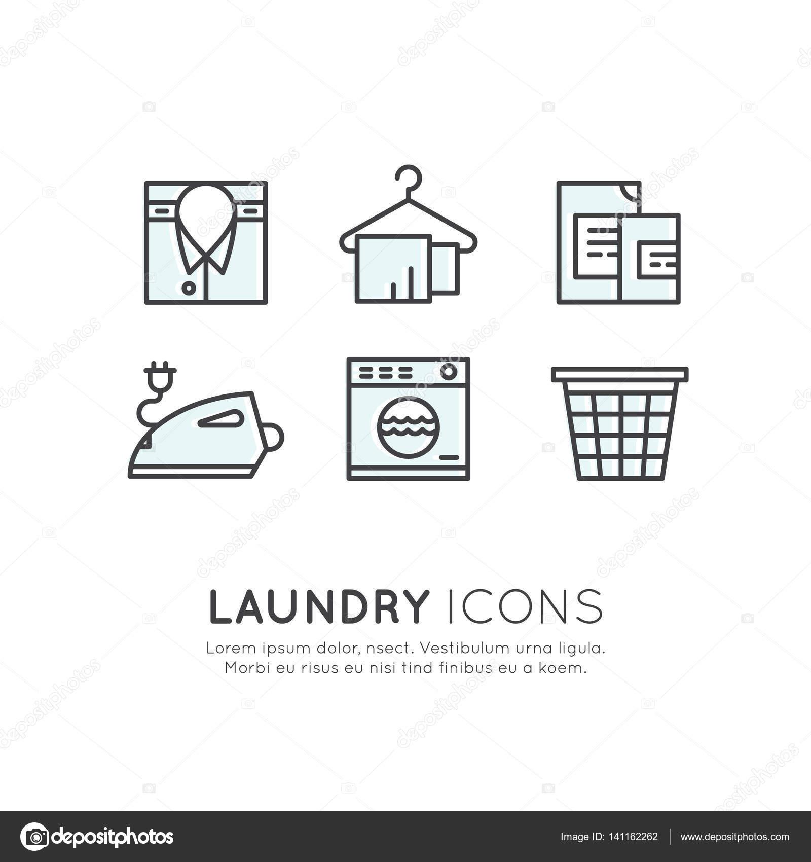 Insieme Di Set Di Logo Di Servizio Lavanderia Lavaggio E Clening Up