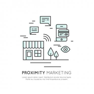 Illustration Logo of Proximity Marketing, Public Hotspot Zone Wireless Internet Wi-Fi Free. Sending messages, information and offers to users