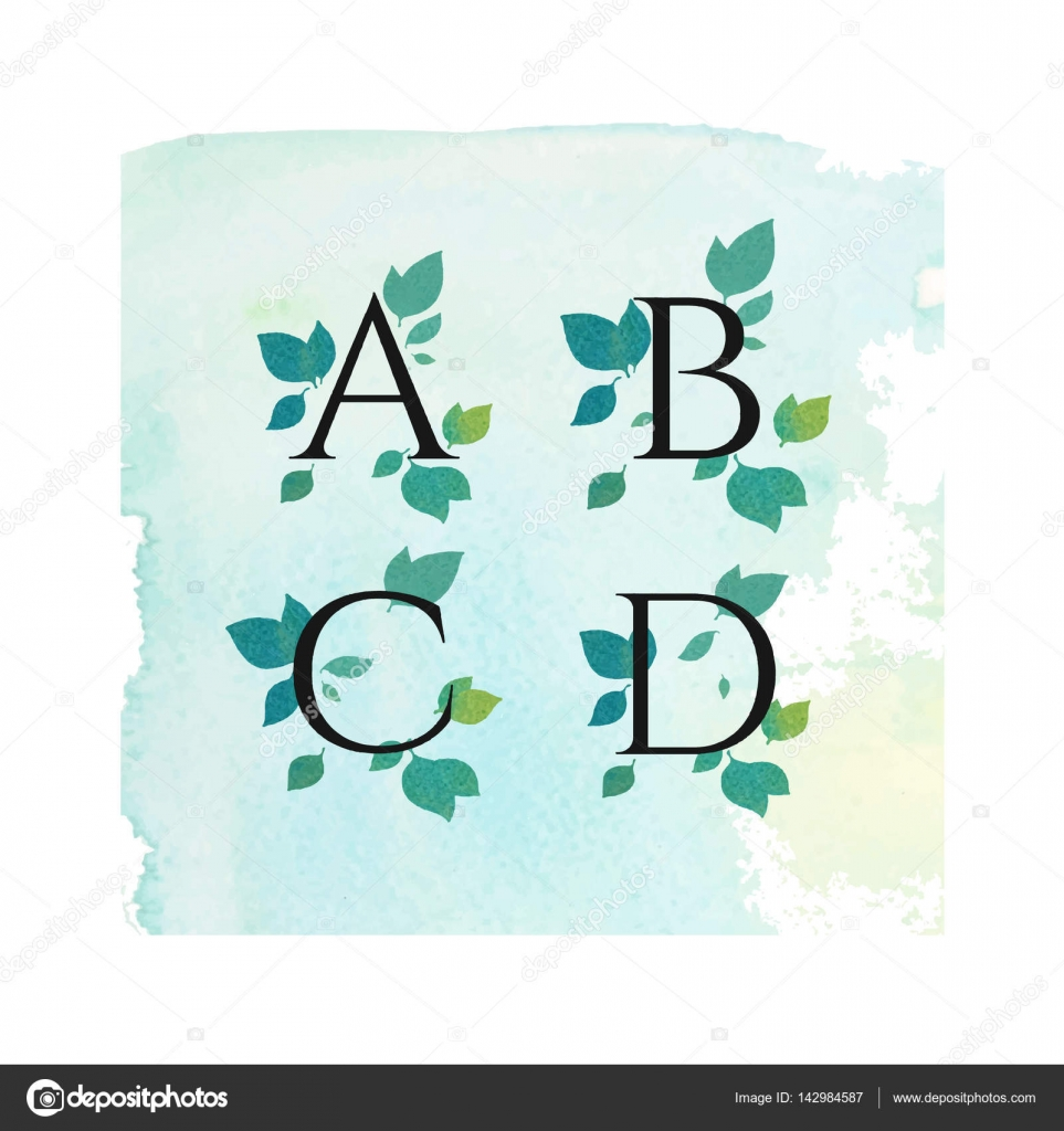 Watercolor serif font with leafs green flowers spring summer watercolor serif font with leafs green flowers spring summer design for wedding invitation biocorpaavc Image collections