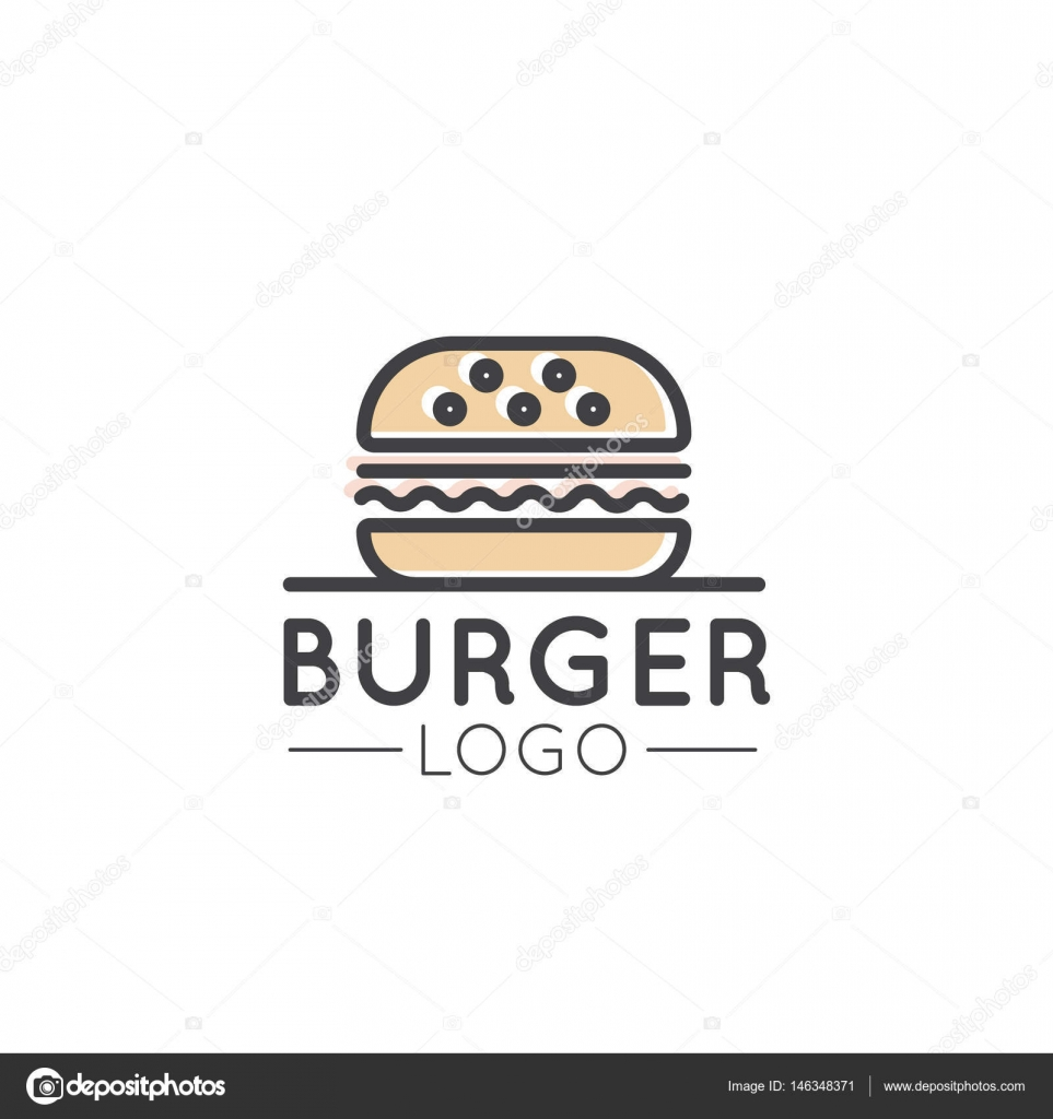 Vector Icon Style Illustration Card Cartoon Outline Logo Of Fast Food Shop Urban Place Burrito Burger Sandwich Or Hot Dog Bar Grill House Simple