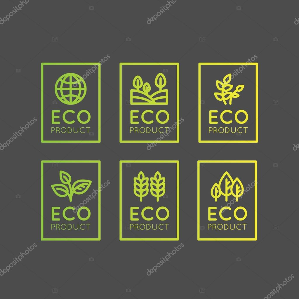 Set Badge Fresh Organic, Eco Product, Bio Ingredient Label Badge with Leaf, Earth, Green Concept Gradient Colour
