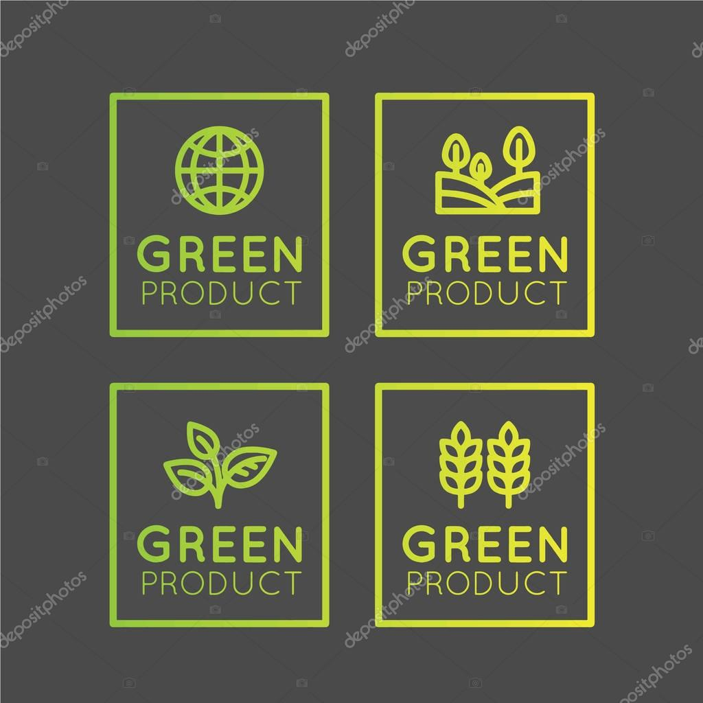 et Badge with Fresh Organic, Eco Product, Bio Ingredient Label with Leaf, Earth