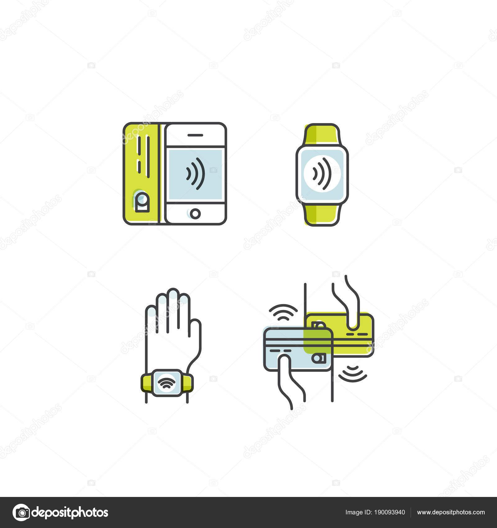 91d2171751ea Vector icono de estilo ilustración de Nfc pago realizado a través del reloj.  Pulsera con mano. Móvil paga o hacer la compra sin contacto inalámbrico  manera ...