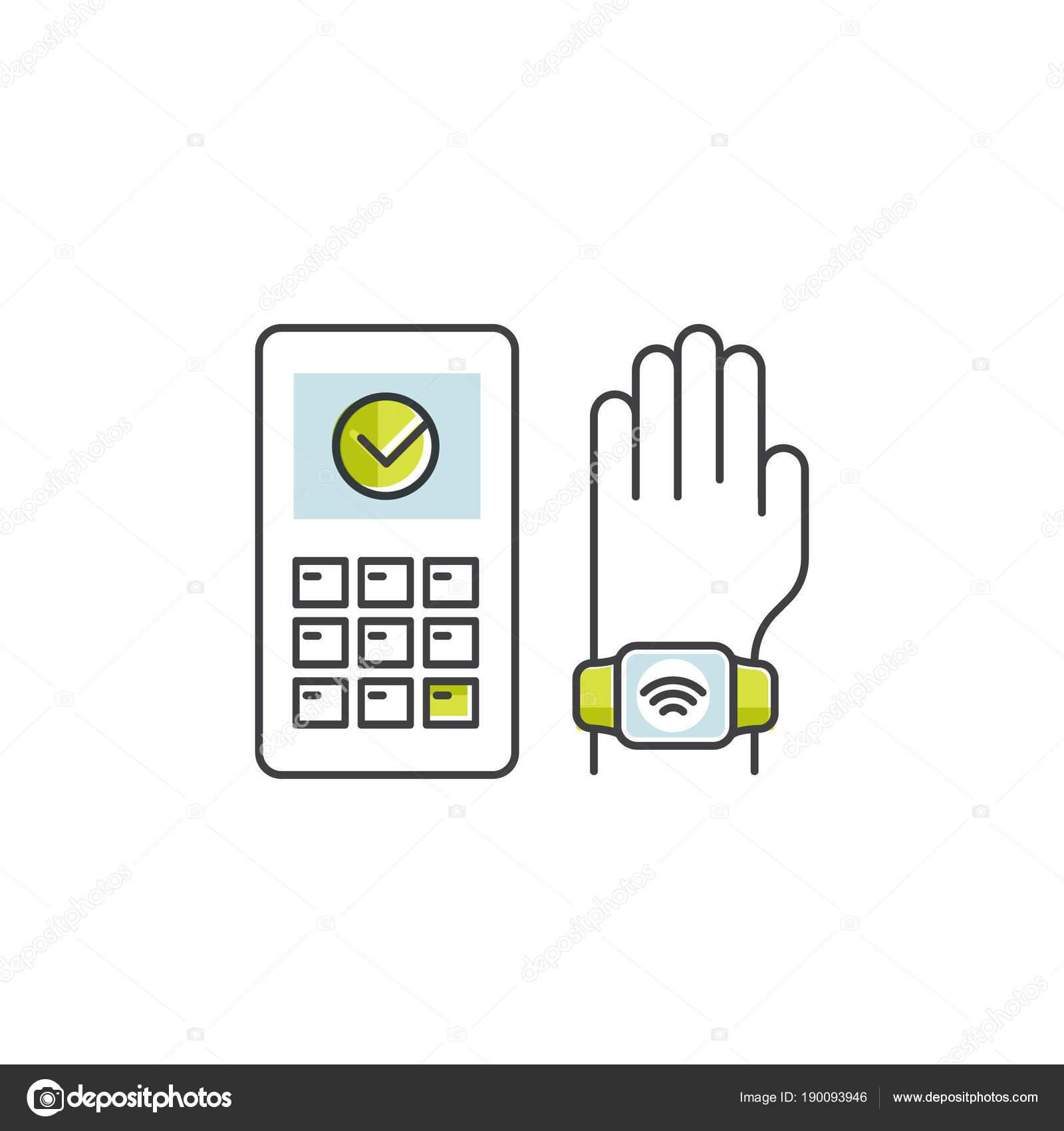 aba3a27e7a84 Vector icono de estilo ilustración de Nfc pago realizado a través del reloj.  Pulsera con mano. Pagar o hacer la compra sin contacto inalámbrico manera o  a ...