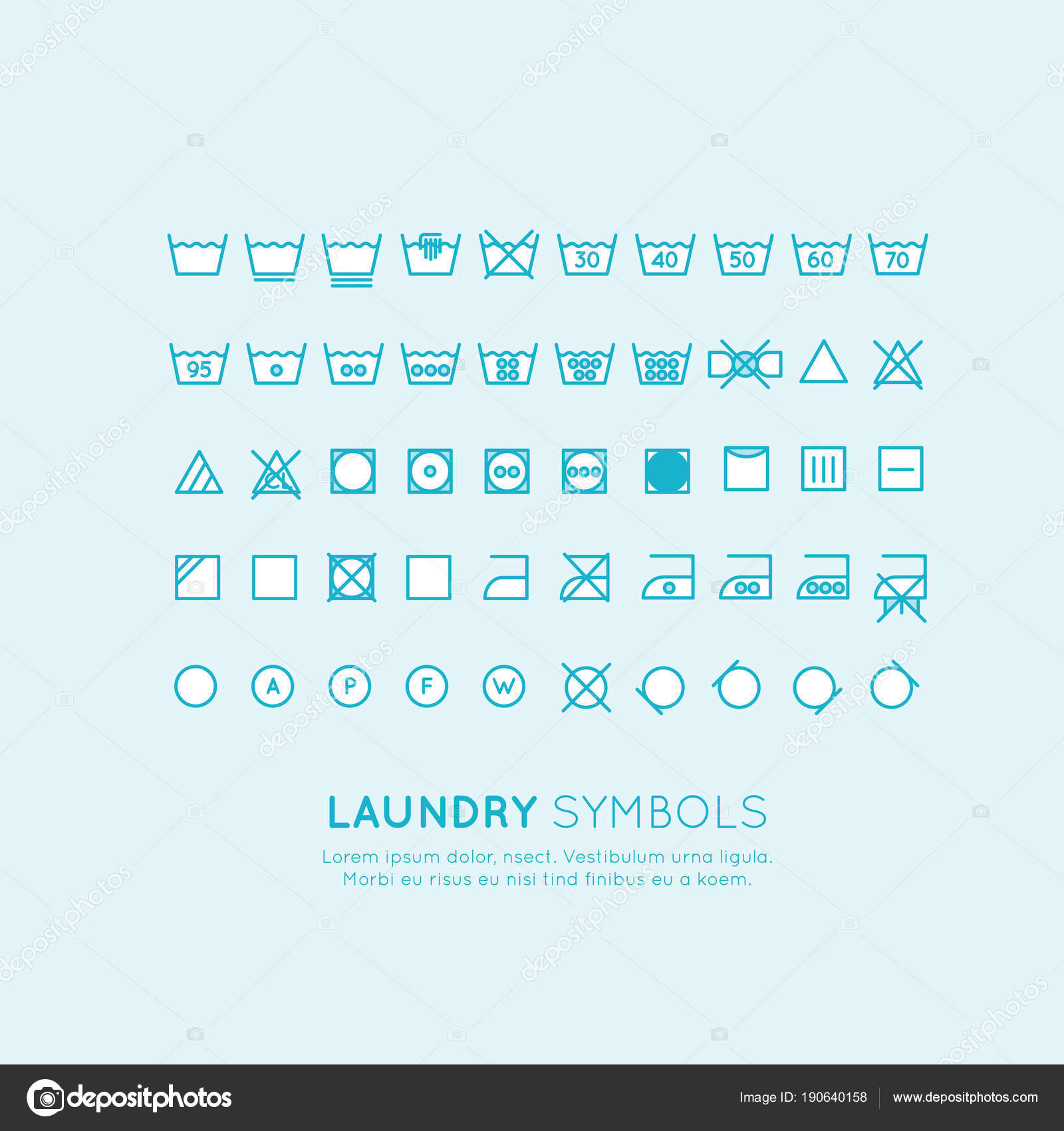 Garment Care Symbols Set Symbols Labels Clothes Washing Wringing