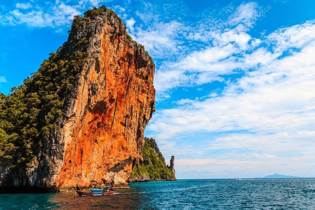 Maya bay Phi Phi Islands andaman sea Krabi, South of Thailand.