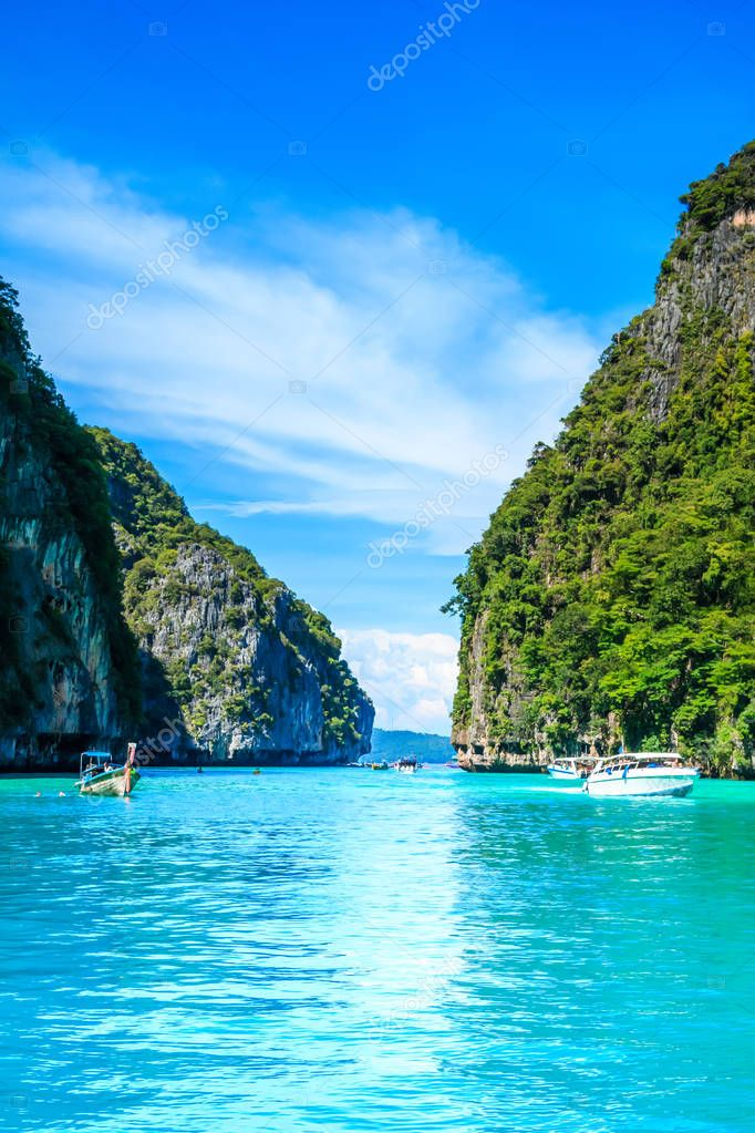 Boat in MAYA Bay Phi Phi Islands Andaman sea  Krabi Thailand.