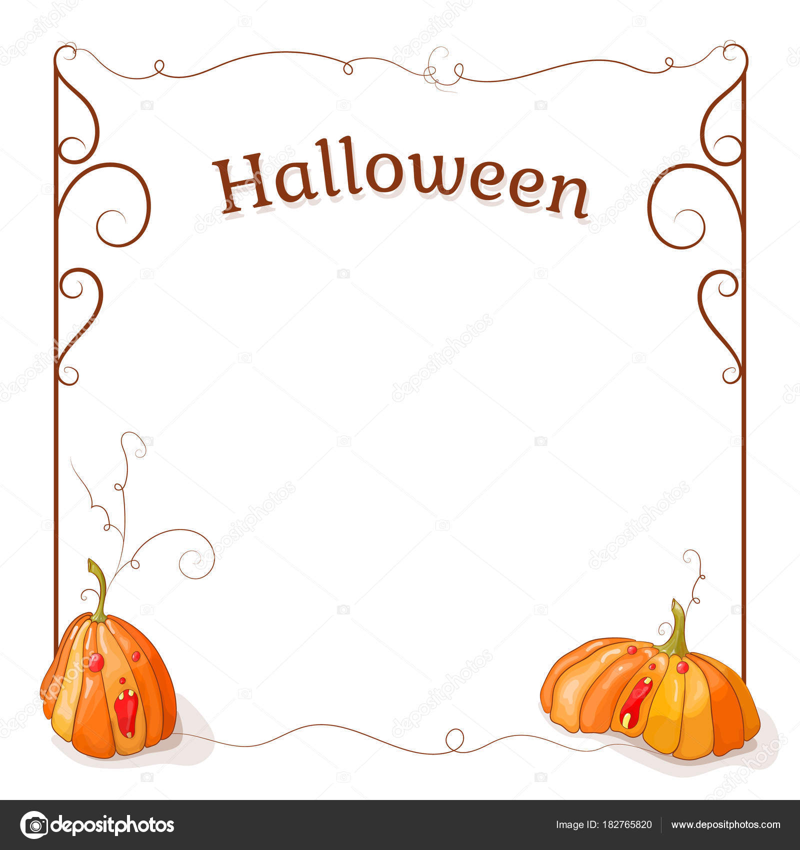 halloween frame screaming pumpkin red eyes vector illustration frame