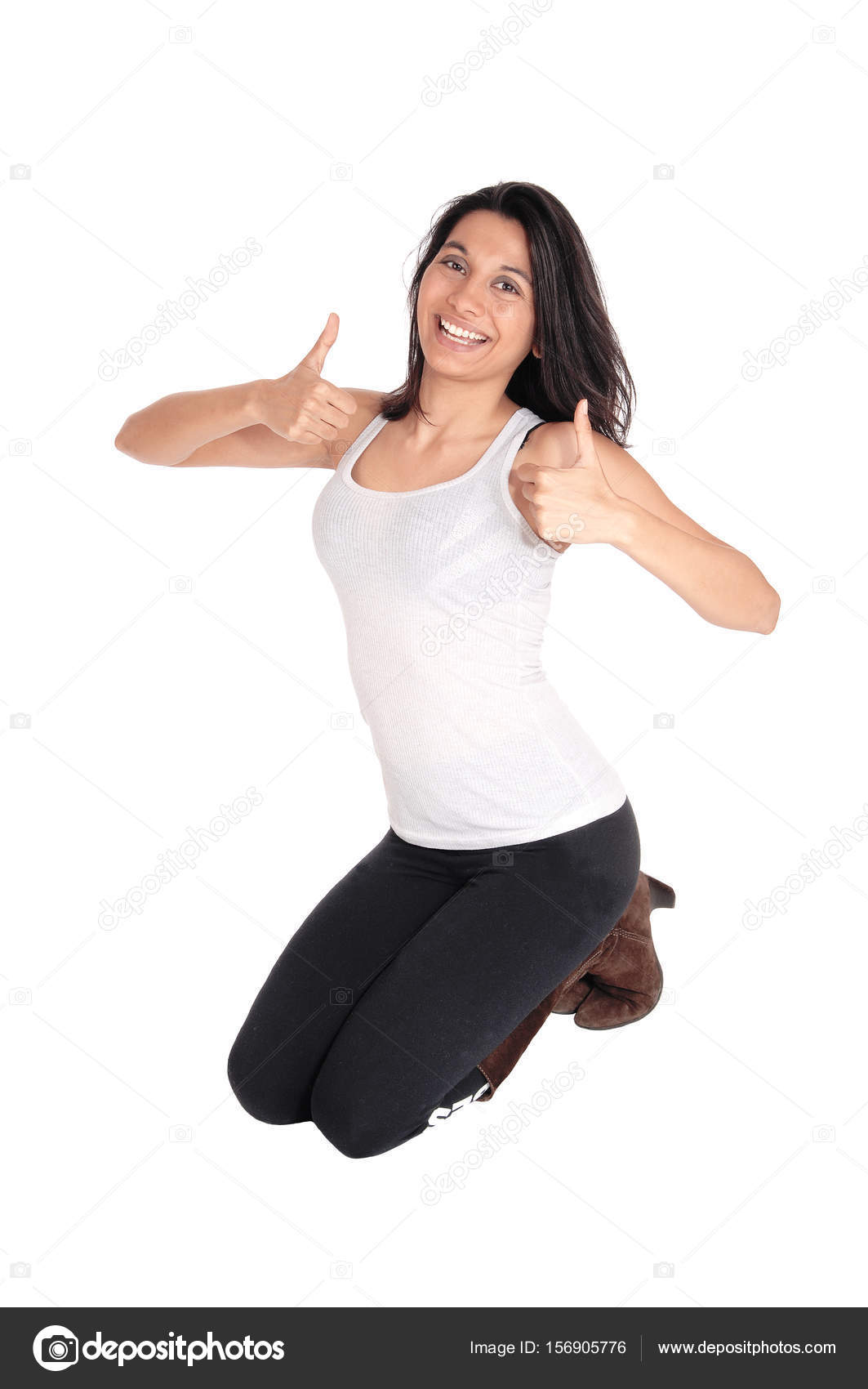 woman kneeling with thumps up stock photo sucher 156905776