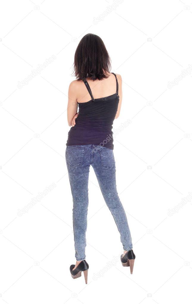 81ddfb2684ff Γυναίκα να στέκεται στην καλσόν από το πίσω μέρος — Φωτογραφία Αρχείου ©  sucher  157972850