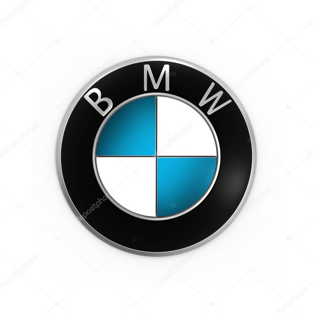 3d rendering bmw logo printed on paper and placed on white