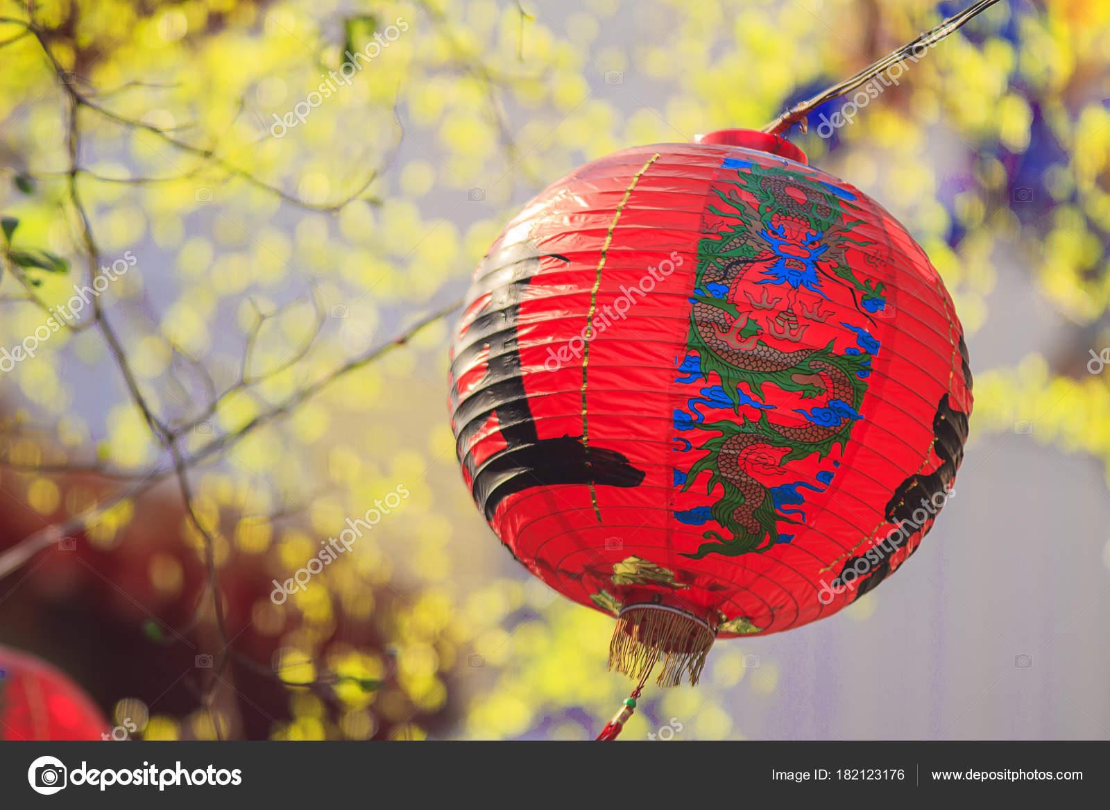 Lanterne Chinoise Papier Rouge Avec Fond De Dragn Photographie