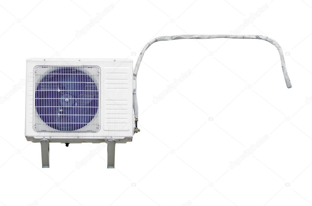 Outdoor air conditioner unit on a white background