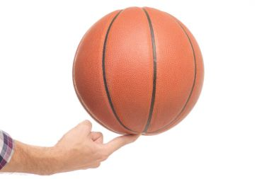 Basketball in men's hands