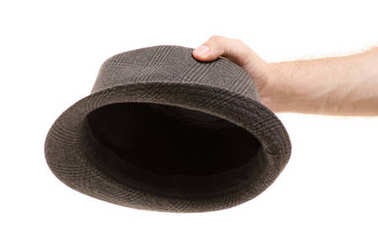 Hat in male hands isolated