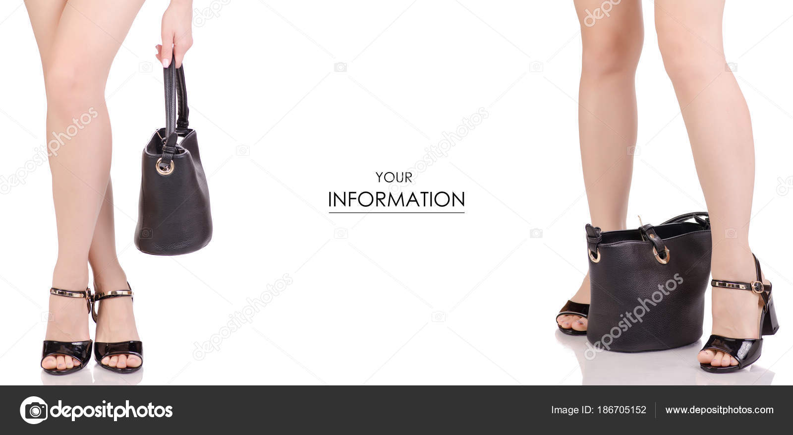 d2a2c8fef83 Γυναικεία πόδια σε μαύρη λάκα παπούτσια Πέδιλα και τσάντα μαύρο δέρμα  ομορφιά μόδα αγοράσει κατάστημα σετ μοτίβο σε λευκό φόντο απομόνωσης —  Εικόνα από ...