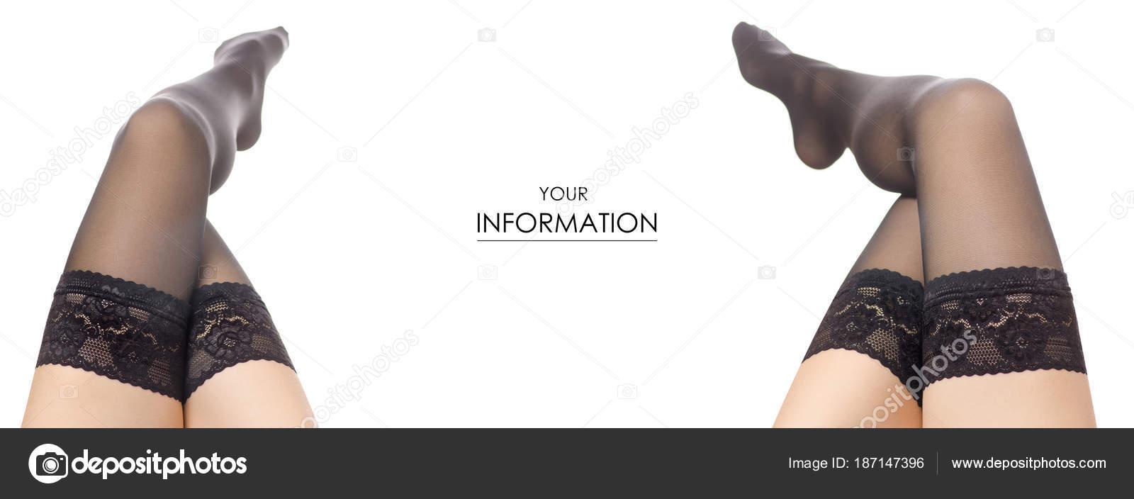 b9f1e696610 Female legs black nylon stockings fashion beauty buy sale shop set pattern  on a white background isolation — Photo by ...