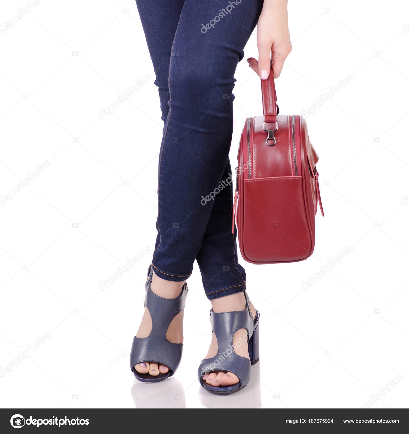 Mujer Jeans Y Con Bolso Azul Piernas Sandalias Zapatos En De E2D9WYHI