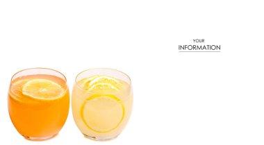 Two glass of lemonade orange lemon pattern