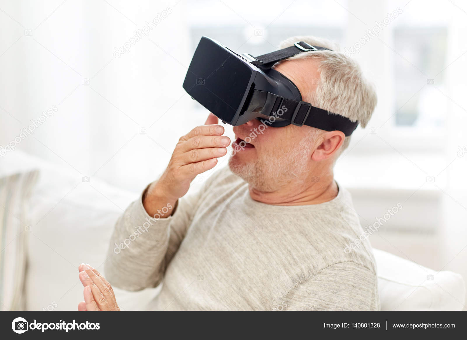 e821f449426 old man in virtual reality headset or 3d glasses — Stock Photo ...