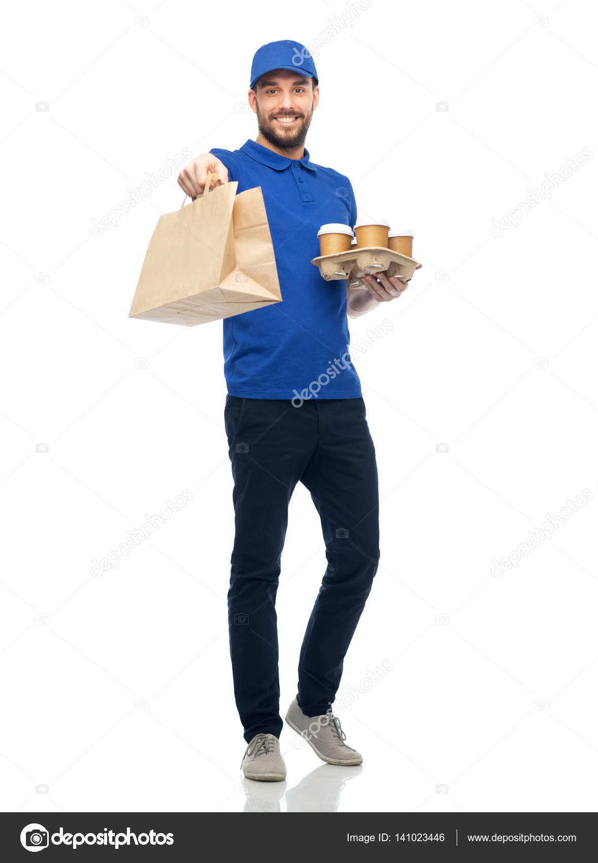 happy delivery man with coffee and food in bag stock photo