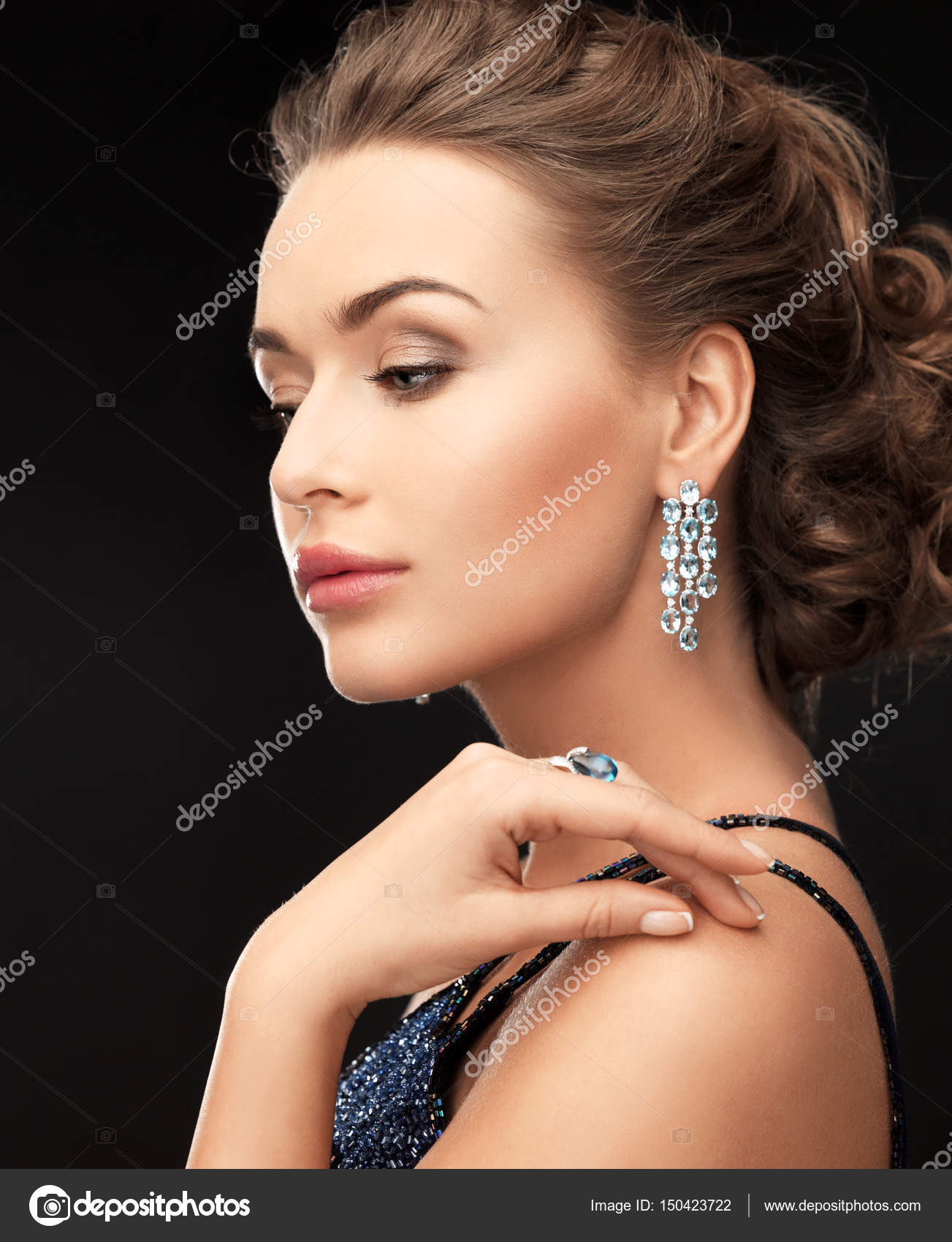 love htm rings woman ear wearing jewellery photo en you i earrings pandora