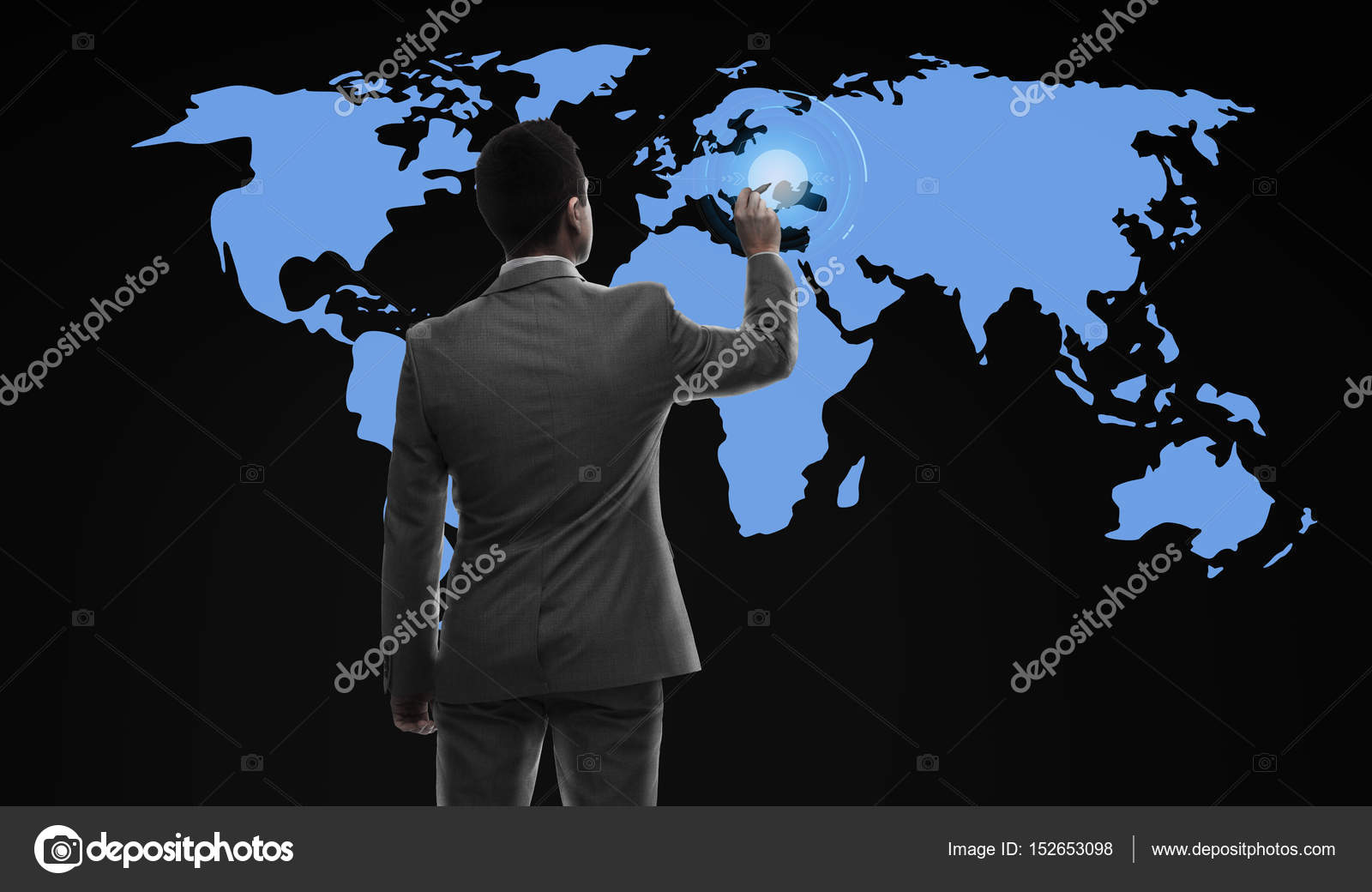Businessman working with virtual world map stock photo business people and technology concept businessman with marker and virtual world map from back over black background photo by sydaproductions gumiabroncs Choice Image