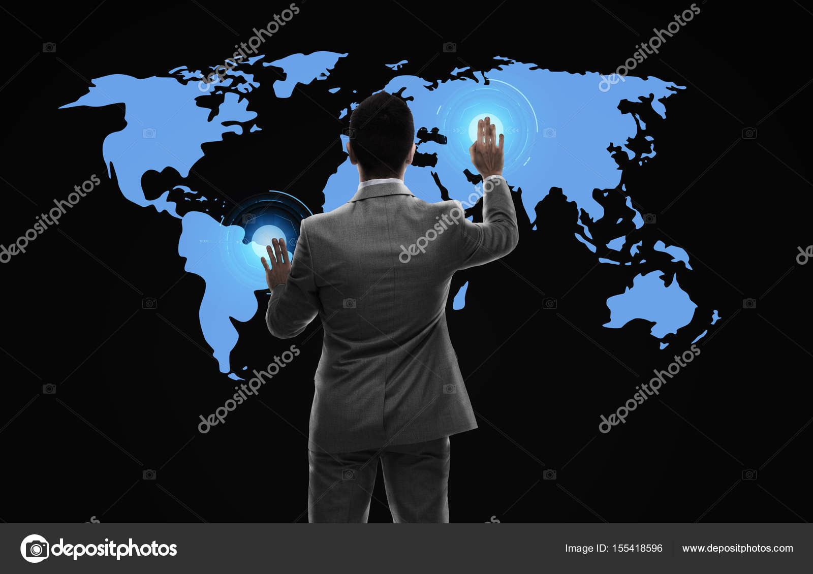 Businessman working with virtual world map stock photo business people and technology concept businessman working with virtual world map from back over black background photo by sydaproductions gumiabroncs Choice Image