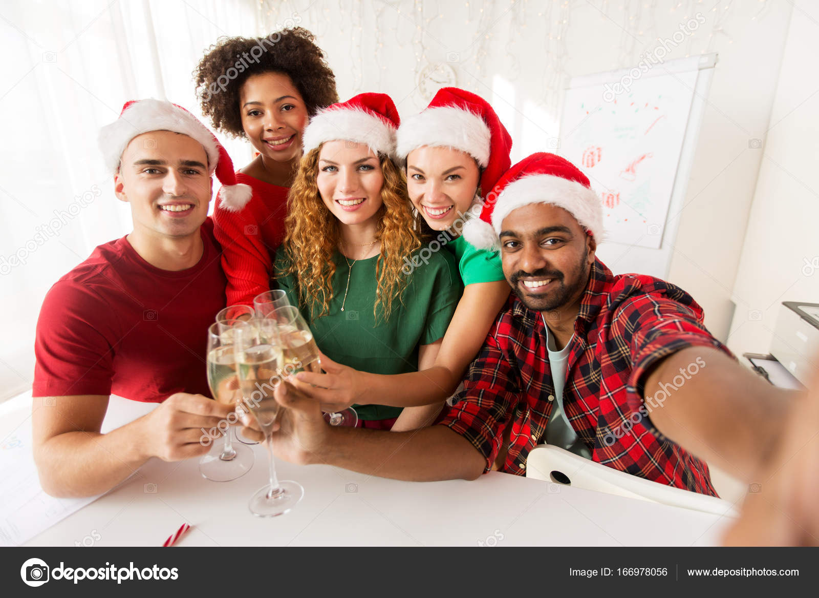 happy team celebrating christmas at office party — Stock Photo ...