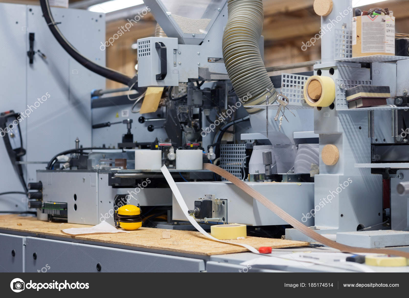 veneer or edge banding machine at factory — Stock Photo