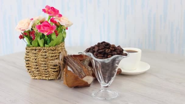 Coffee ingredients set on wooden table