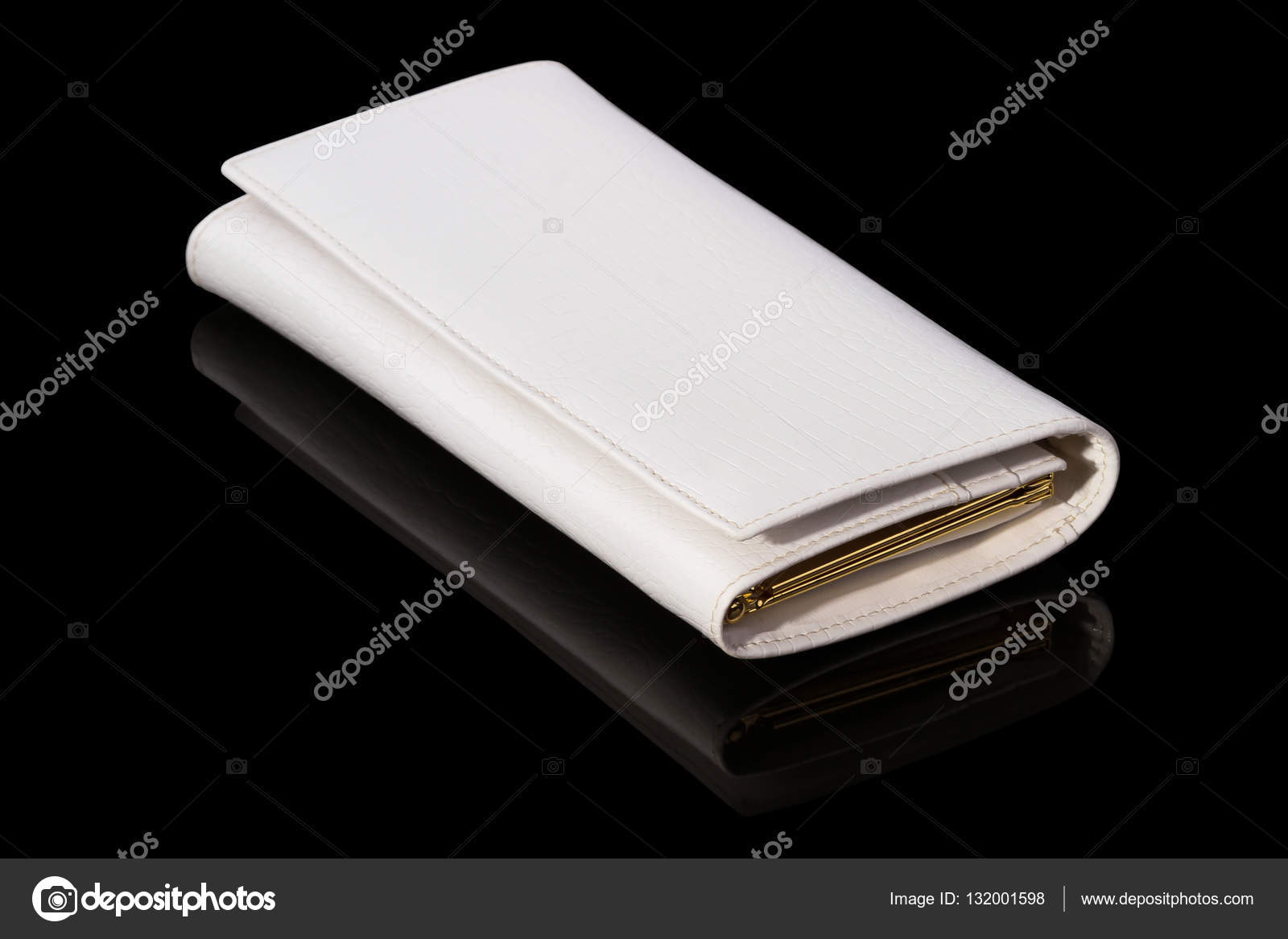Witte Portemonnee.Witte Portemonnee Op Een Zwarte Achtergrond Stockfoto