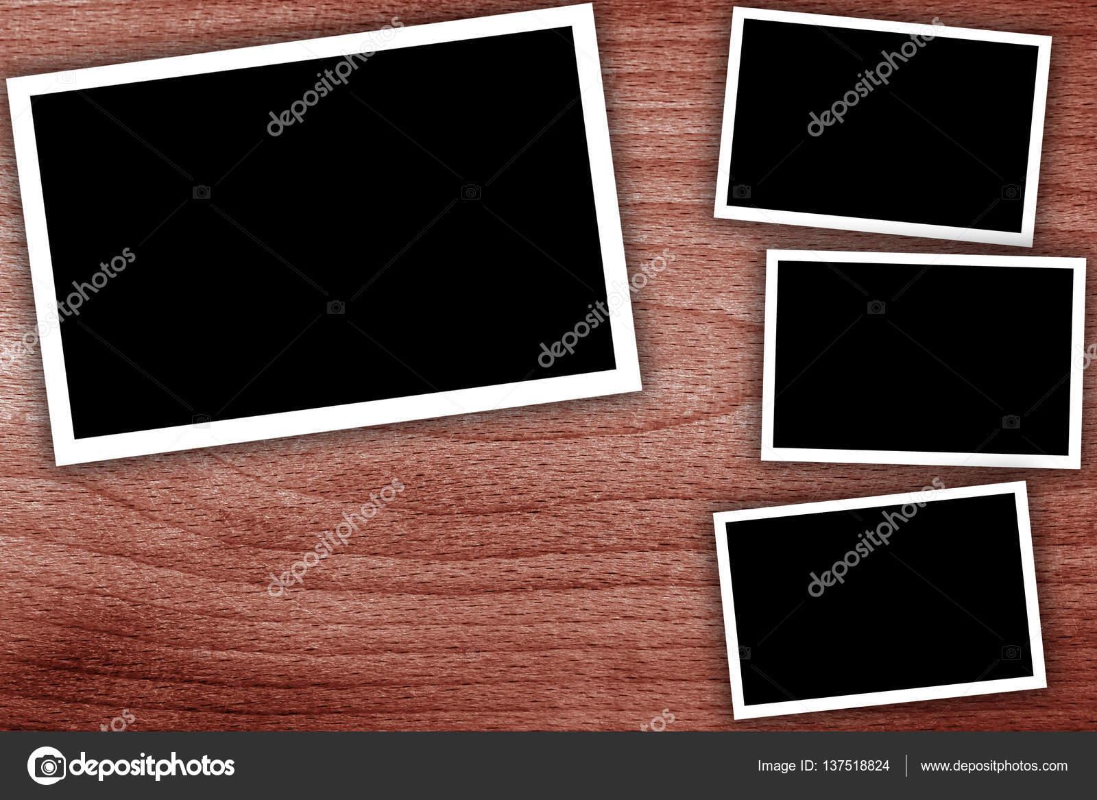 Collage, vacío marcos en el fondo de madera — Foto de stock ...