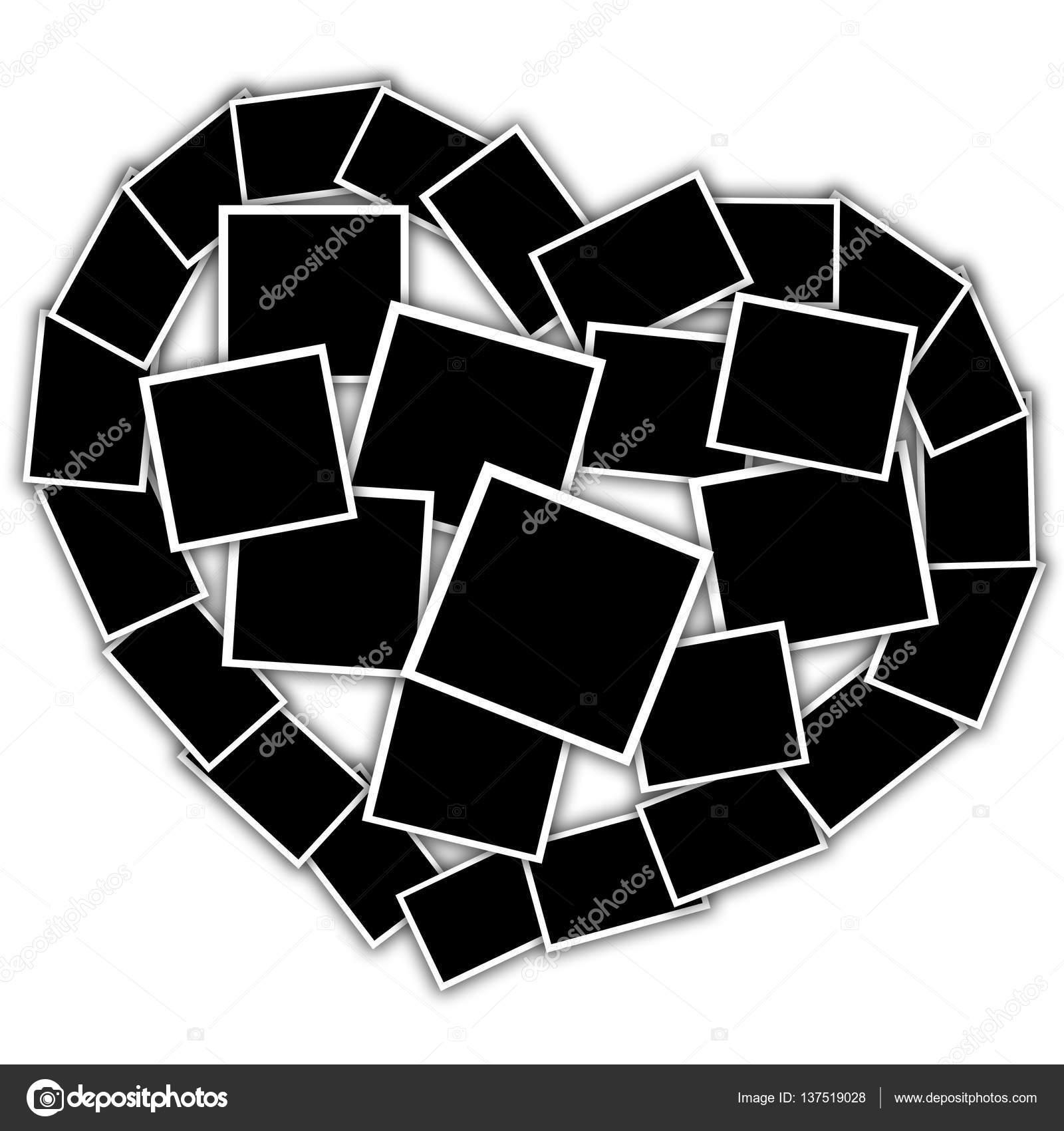 collage en forma de corazón, vacío marcos — Foto de stock ...