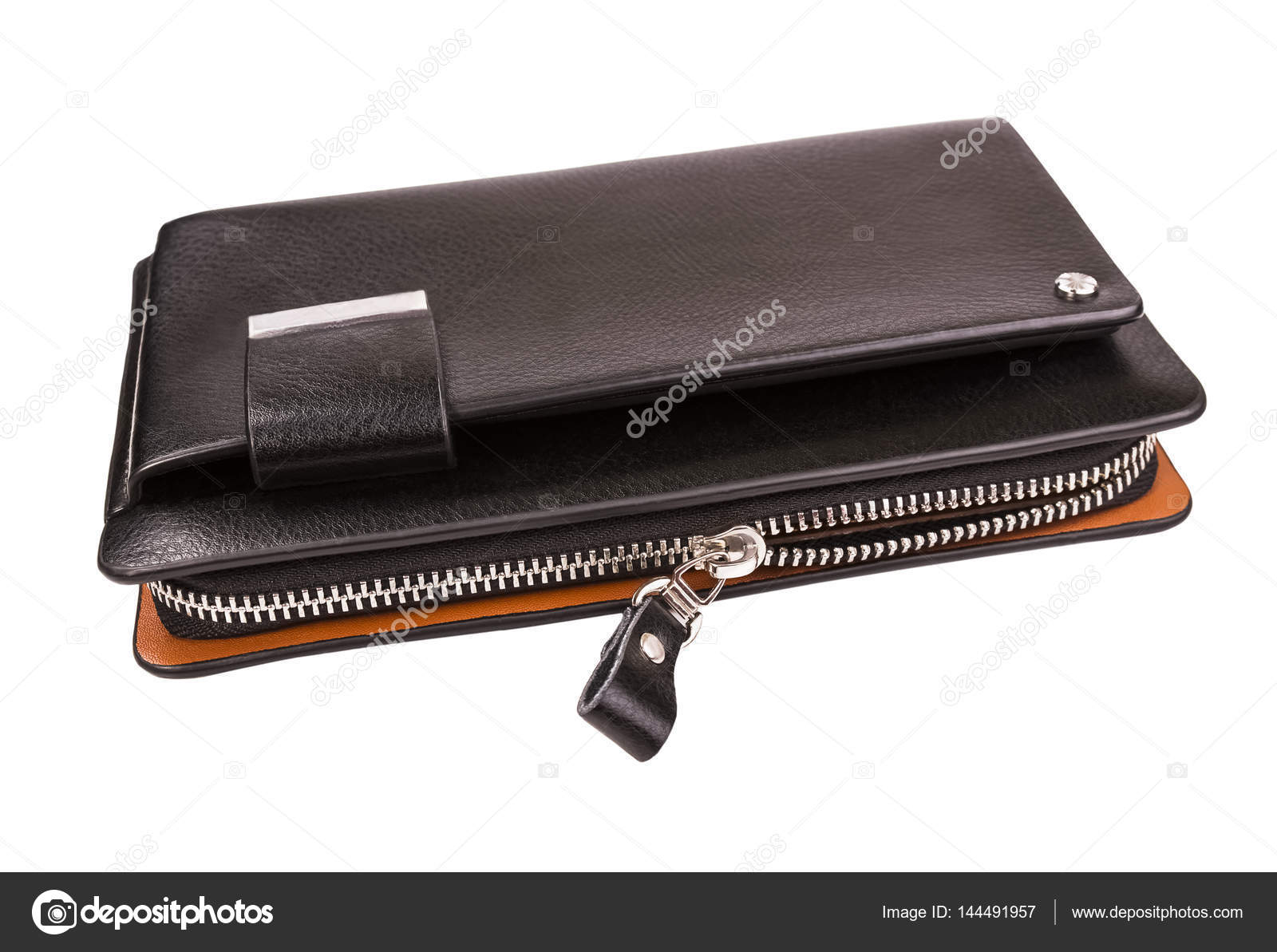 02df74b7 Indoor men's wallet on the background of isolation; Clutch bag with zipper  — Photo by ...