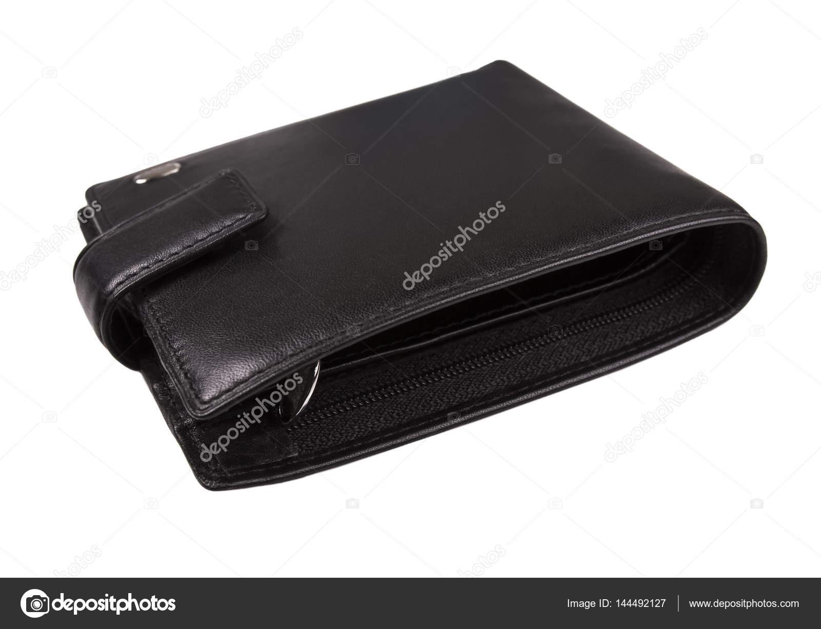 3546a0ee3b Μαύρο Δερμάτινο ανδρικό πορτοφόλι που απομονώνονται σε λευκό φόντο — Εικόνα  από ...