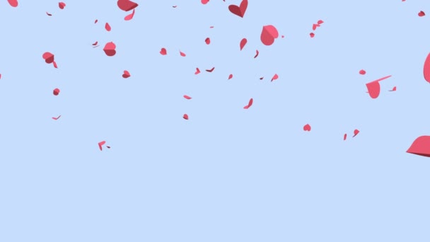many pink paper hearts falling down