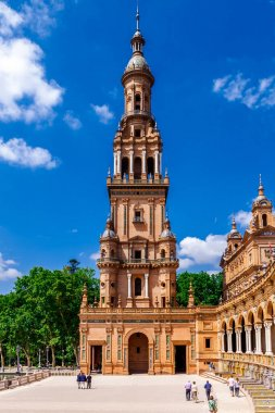 Sevilla, Andalusia, Spain  - 14 May 2013: Spanish Square (Plaza de Espana) bright sunny day.