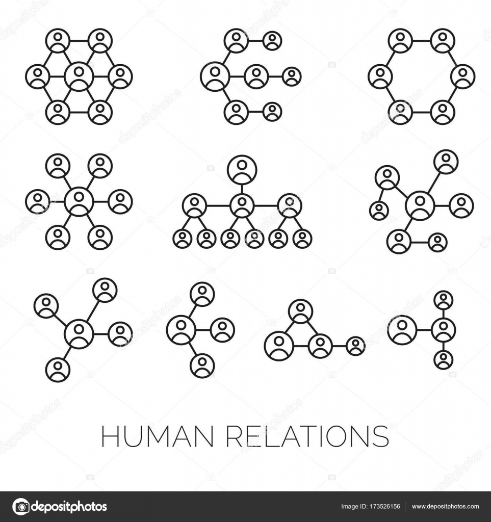 human relations simple charts hierarchy connections organizations diagrams vector illustrations stock vector