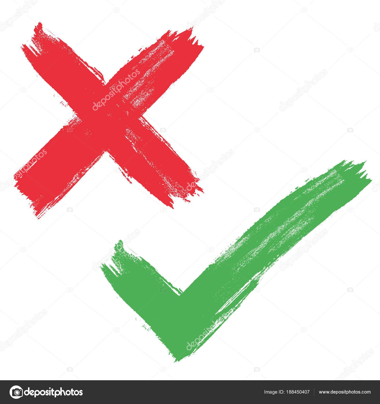 Mano de grunge vector dibujado los iconos de marcas de verificación ...
