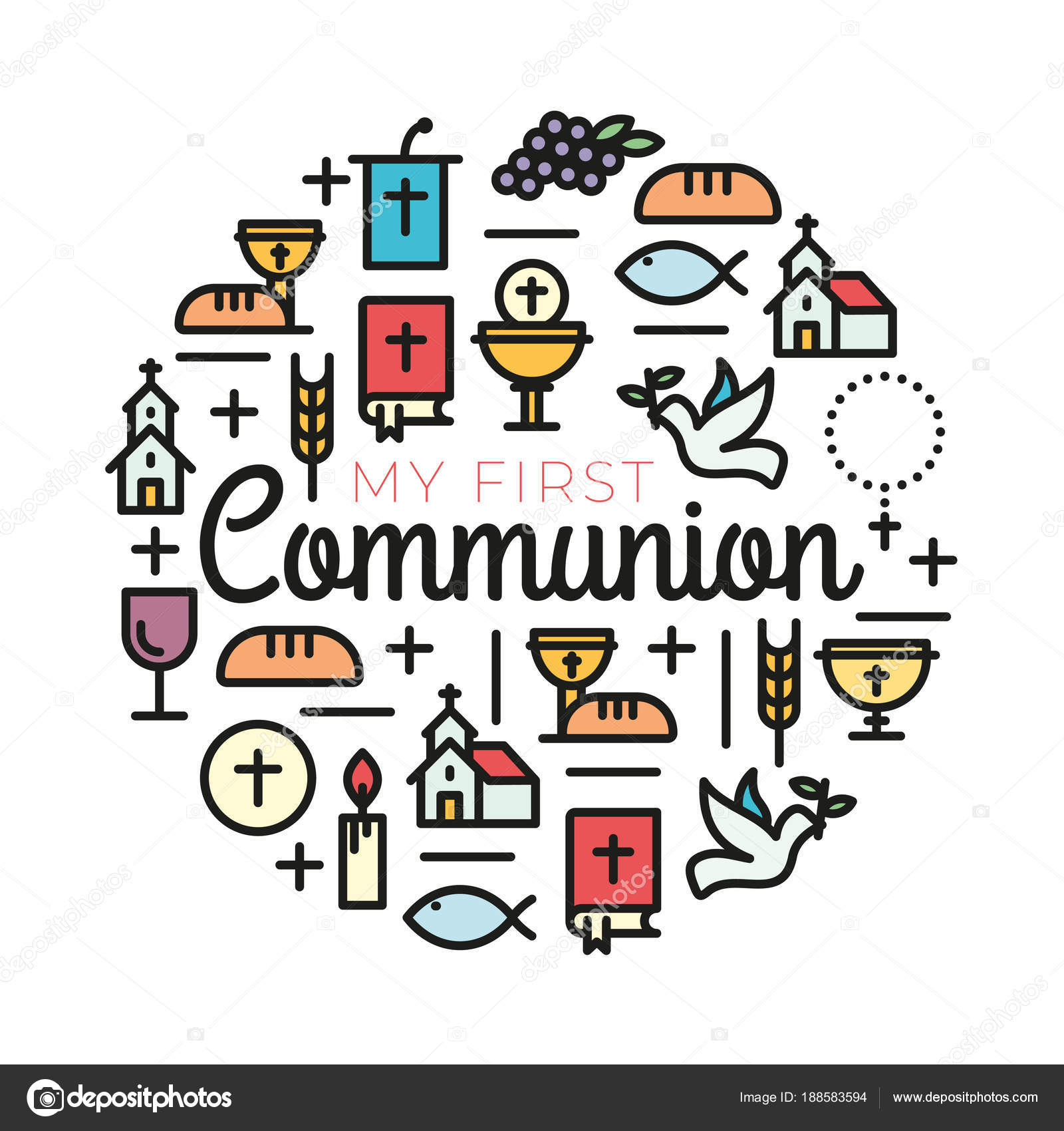 First communion symbols for a nice invitation design stock vector first communion symbols for a nice invitation design church and christian community flat outline icons vector by alvaroc buycottarizona Gallery