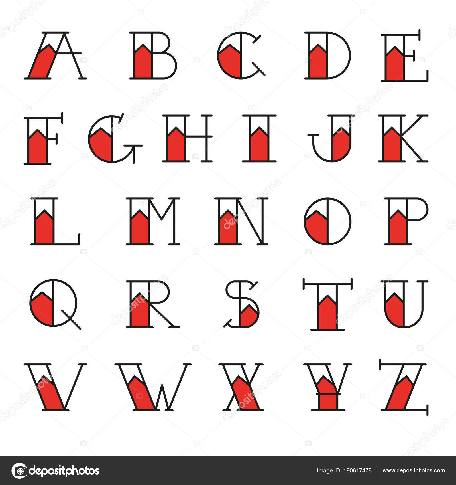 Old School Tattoo Alphabet Bicolor Vector Letters Traditional Callygraphy Font Stock