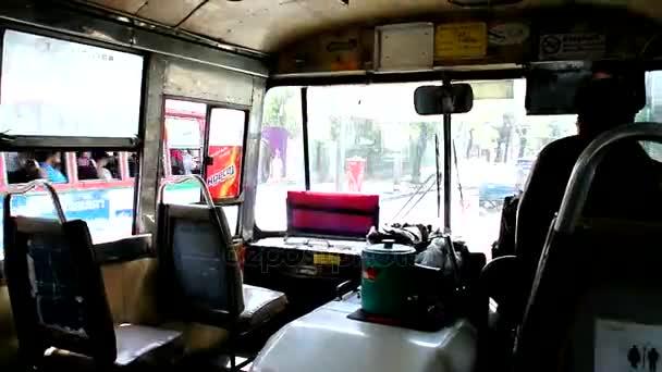 Inside local passenger bus, Bangkok city