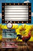Scheda programma vintage Light box con Borsa retro e pollo presso su