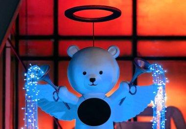 Bear angle doll and trumpet with lighting design, Christmas deco