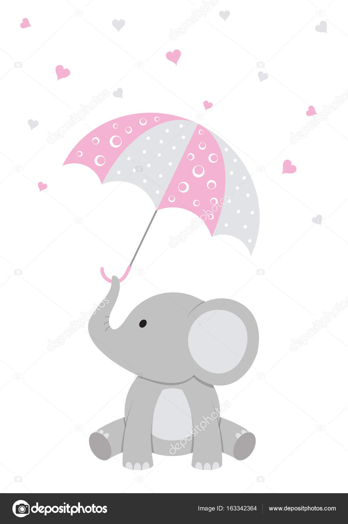Baby Elephant Pink Baby Shower Stock Vector Rach27 163342364