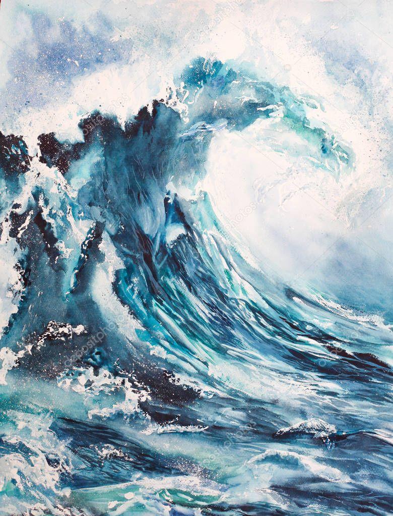 Peinture Aquarelle De La Mer Vagues Photographie Malishli