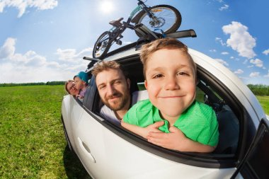 boy travelling with his family